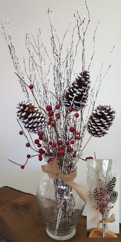 Simple winter tabletop or centerpiece decoration