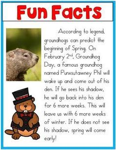 It is hard to believe by looking at all of the snow on the ground that it is almost Groundhog Day! Groundhog day falls on February of . Kindergarten Groundhog Day, Groundhog Day Activities, Preschool Themes, Preschool Lessons, Preschool Printables, Luther, Childhood Education, Ground Hog, Lesson Plans