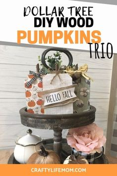 Make these DIY Wood Pumpkins for Fall Home Decor plus get the FREE SVG cut file to use with your Cricut or Silhouette machine.