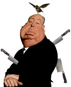 "CARICATURAS DE FAMOSOS: ""Alfred Hitchcock"" por Mark Hammermeister"
