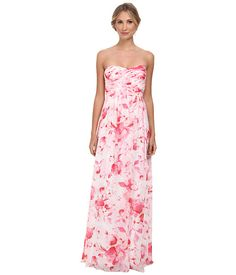 Donna Morgan Stephanie Long Printed Floral Chiffon Dress