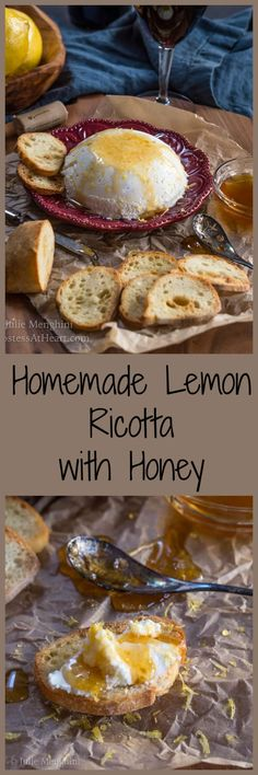 Homemade Lemon Ricotta With Honey makes a deliciously decadent appetizer that is both quick and very easy to make. Once you make it you will never buy it again. | HostessAtHeart.com