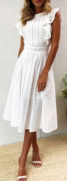 #winter #outfits white boat neck ruffles sleeved midi dress