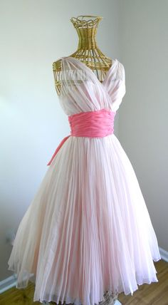 1950's 50s Fred Perlberg Party Dress Pink Ruched Chiffon Organza Bombshell Betty Draper Circle Skirt Wedding Dress Prom Gown True Vintage by LOVEbyAprilLeigh on Etsy #1950s #50s #1950sdress #50sdress #partydress #50spartydress #vintagedress #50sstyle #prom #promdress #wedding #weddingdress #bombshell #bettydraper