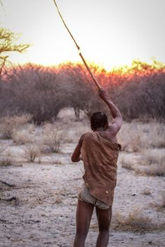 Bushman scaring predators with the sound of this whip... Photo by Marie-Soleil Le Houillier