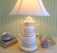 Teapot Lamp Two Teapots Tea Cup and Saucers Alice by ThistleandJug, $99.00