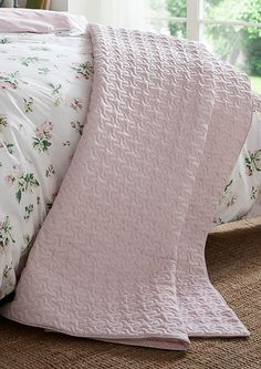 Clementine Rose Bed Linen from Cabbages & Roses Waffle Blanket, Faux Fur Blanket, Embroidered Cushions, Linen Bedding, Bed Linen, Curtains With Rings, Knitted Throws, Sofa Throw, Houses