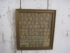 19th Century SIGNED American SAMPLER Wonderful Early Primitive Country Find AAFA