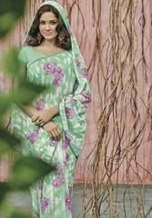 Green Color Georgette Party Wear Sarees : Prishika Collection  YF-40823