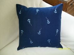 Anchors Aweigh by hmishke on Etsy, Nautical Pillow Covers, Nautical Pillows, Ticking Fabric, Anchors, Fabric Design, Throw Pillows, Etsy, Toss Pillows, Cushions