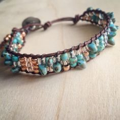 Turquoise and rose gold beaded wrap bracelet