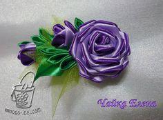 Мастер класс цветка из атласной ленты