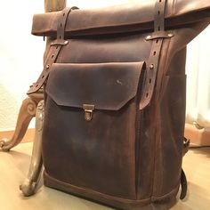 Roll top canvas leather backpack for laptop in dark brown. Waxed Canvas Bag, Canvas Backpack, Canvas Leather, Laptop Backpack, Leather Art, Travel Backpack, Travel Bags, Leather Crossbody Bag, Leather Backpack