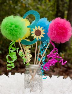 Frozen Fever Birthday Party Centerpiece Pom Pom Wands Table Decoration