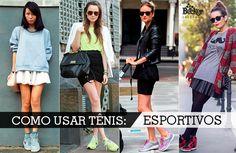 Look com tênis esportivo feminino com saia!