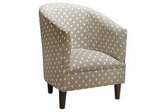 Collete Tub Chair, Gray/White on OneKingsLane.com