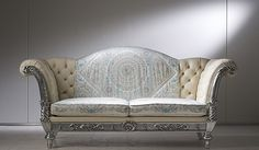 sofa from the Versace Home, Heritage Collection. This is the Zar 09 sofa and truly is THE perfect couch and makes for a perfect accent piece in any vintage-inspired living room. With its handcarved wood structure and silver leaf finish, this romantic sofa will add elegance to any room!
