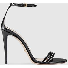 Gucci Patent Leather Sandal (4,125 CNY) ❤ liked on Polyvore featuring shoes, sandals, black, women, black high heel shoes, ankle strap sandals, gucci shoes, black shoes and black patent shoes