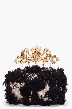 ALEXANDER MCQUEEN Black Lace Unicorn Skull Clutch