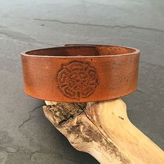 Yorkshire Rose Leather Cuff by OddleDoddle on Etsy