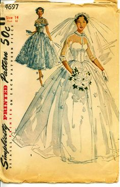 Lovely Princess Grace Style 1954 Bridal Gown and Bridesmaid Dress Vintage Pattern- UNCUT - Vintage, Retro Sewing Patterns