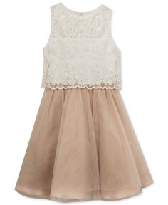 Rare Editions Lace-Bodice Popover Party Dress, Big Girls (7-16) - Dresses - Kids & Baby - Macy's  #Easter #Gifts #Dress #Coupons