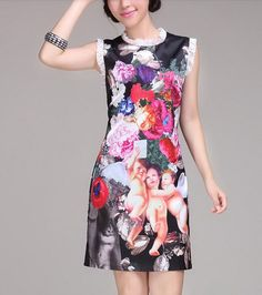 Flowers and Angels Silk Dress-zeniche.com SKU aa0082