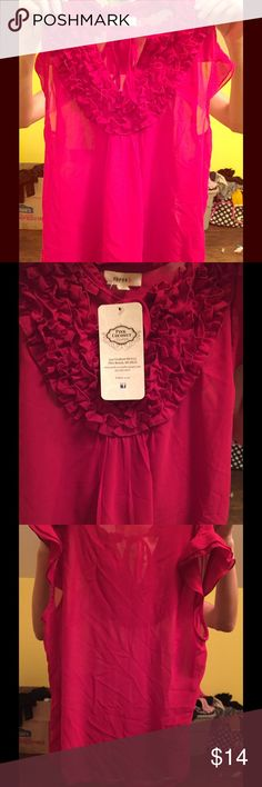Red dressy top never worn tags still on Really cute dressy top perfect for work, a night out or just when you are feeling like dressing up. It's a hot red color and never worn. Still tags. Make an offer Pink coconut boutqiue Tops Blouses