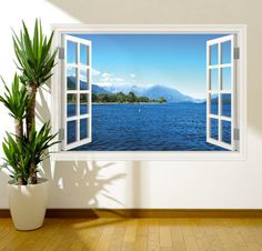Items similar to Window Frame View Sunset Paradise Lake Wall Art Sticker Decal Transfer Mural Print RW on Etsy Childrens Wall Decals, 3d Wall Decals, Removable Wall Stickers, Wall Murals, Wall Art, Smooth Walls, Window Wall, Window Blinds, Textured Walls