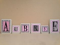 Hanging name letters, baby name letters, nursery name letters, hanging name sign, baby name sign, letters, wall letter art, gray, grey, pink