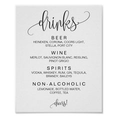 Shop Alcohol Cocktail Drinks Bar Editable Wedding Sign created by HadleyDesigns. Personalize it with photos & text or purchase as is! Wedding Drink Menu, Diy Wedding Bar, Wedding Menu Cards, Wedding Bar Signs, Dream Wedding, Cocktail Wedding Reception, Wedding Signature Drinks, Rustic Wedding, Wedding Stationary