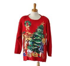 Vintage 90s Girl Decorating Tree ugly Chrismtas Novelty Sweater - Women Medium, Men Small by bluebutterflyvintage on Etsy