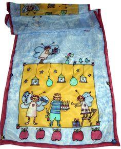 Šatka -obrázok do detskej izby na zarámovanie Silk Painting, Apron, Fashion, Moda, Fashion Styles, Fashion Illustrations, Aprons