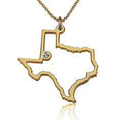 State Necklace Texas State Charm Necklace 18k Gold Plated State Necklace with Swarovski Stone 20 Inches * Be sure to check out this awesome product.(This is an Amazon affiliate link and I receive a commission for the sales)