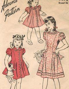 1940s Advance 4166 Vintage Sewing Pattern Girl's by midvalecottage, $12.00