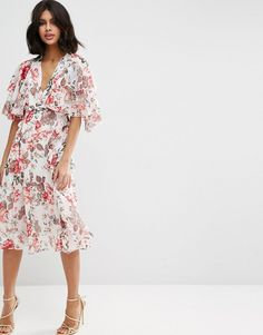 ASOS COLLECTION ASOS Ruffle Cape Soft Midi Dress In Vintage Floral
