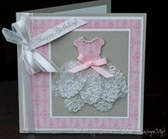 Stunning Pink & Vellum Happy Birthday Card...with an embossed vellum tutu skirt...Picture only for inspiration. This technique uses an embossing folder for the skirt design.