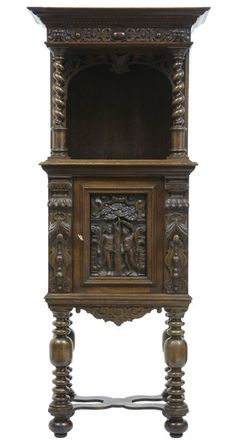OnlineGalleries.com - 19TH CENTURY VICTORIAN CARVED OAK HALL CUPBOARD ON STAND Condition: Excellent Origin: British Circa 1870