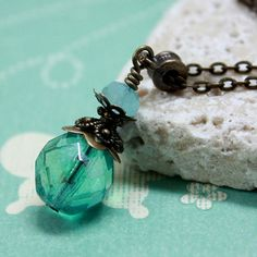Turquoise FirePolished Czech Glass Bead by carolinascreations, $10.00