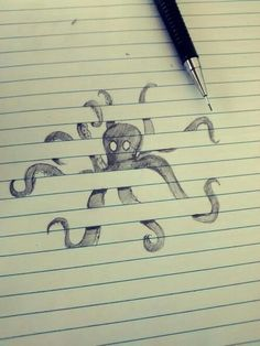 Octopus sketch on lined paper