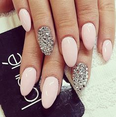 Pink acrylic almond nails with silver applications   Find more inspiration at Instagram.com/laquenailbar