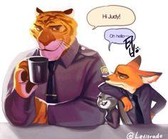 e621 annoyed canine disney feline female fox fur grey_fur judy_hopps lagomorph long_ears male mammal nick_wilde officer_tiger_(zootopia) orange_fur rabbit size_difference tiger zootopia