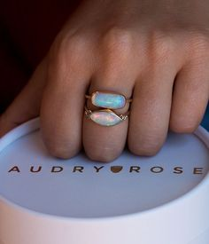 Large Marquise Opal with Side Diamonds - Audry Rose