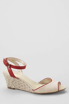 Land's End Women's Hadley Linen Mid Wedge Quarter Strap Sandals $70 - the flat version is called Valerie.