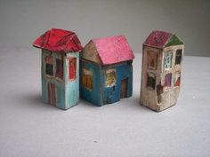 Etsy Transaction - Blue Irregular House - Wooden Rustic Hand Painted and Hand Carved Original Wood Sculpture Art