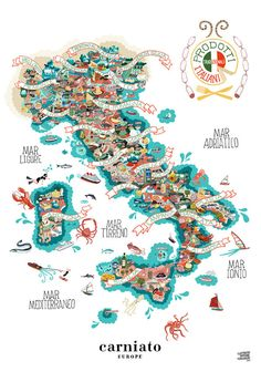 Illustrated map of Italy and its food products by Antoine Corbineau.