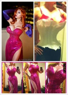 My Jessica Rabbit photos are not photoshopped. I drafted an extreme shape steel-boned corset with 2 bras engineered into it to create her cartoon-shape. As the WIP shows.  Full description on the making of this costume is here: http://yayacosplay.deviantart.com/art/I-m-not-bad-I-m-just-drawn-that-way-327345757