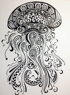 Abstract Jellyfish Ink and Pen Drawing. Original by SeedandSun, $45.00