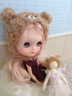 Blythe Doll Bear Helmet / with face / fuzzy / by AltheasDollHouse