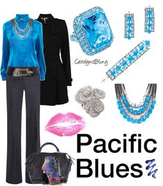 """Pacific Blues"" by carolynsbling on Polyvore"